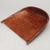 【茶器/茶道具 菓子器】 干菓子器 箕 網代竹製 和紙張 柿渋仕上げ