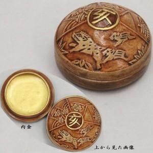 【茶器/茶道具 香合 干支「亥]】 干支香合 亥宝珠 蒲池窯 木箱 【干支「亥」・御題「光」】