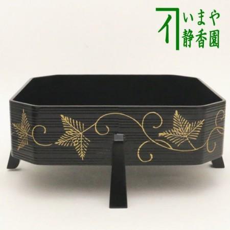 【茶器/茶道具 菓子器】 山中塗り 縁高 脚付き 松唐草蒔絵