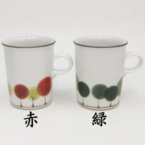 【マグカップ コップ】 ミルクマグカップ 並木 白山陶器製 赤又は緑