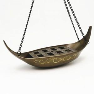 【茶器/茶道具 花入】 釣花入(吊花入) 唐銅(唐金) 釣舟花入 唐草彫 大野芳光作 釣鎖付