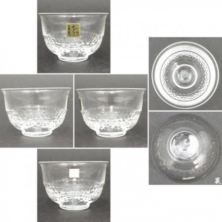 【湯のみ(湯呑み・湯飲み)/汲み出し(汲出し)】 ガラス(硝子) 無地 手吹き 5客セット