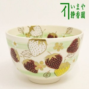 【茶器/茶道具 抹茶茶碗 御題「実」】 苺といちご花 水出宋絢作 (干支牛 御題実)