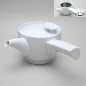【急須】日本製 白磁茶和急須 カップ網付 約300ml.