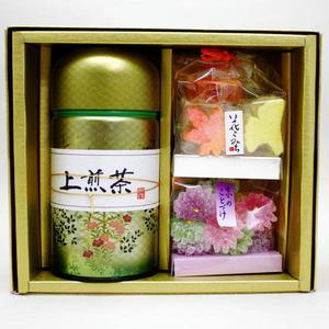 【日本茶/緑茶 ギフトセット(詰め合わせ・ご贈答)】 香川県産 当店オリジナルご贈答セット 「缶入&お菓子」
