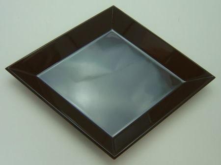 【茶器/茶道具 拝見盆】 黒真塗 菱盆 (サイズ:約横23×縦18.5cm)