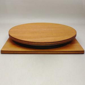 【茶器/茶道具 灰押/灰ならし】 回転台 木製:灰道具(平台) 約直径27.4cm