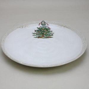 【茶器/茶道具 菓子器 クリスマス】 クリスマスツリーの絵 菓子皿 有古窯