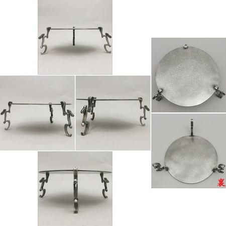 【茶器/茶道具 菓子器】 干菓子器  唐銅 跳兎(兎脚) 8.5寸 銀色 金谷宗林作