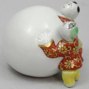 【茶器/茶道具 蓋置き】 色絵 雪だるま二閑人(ボール型) 高野昭阿弥作(和楽庵)