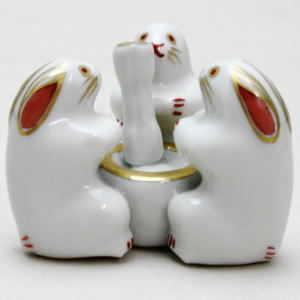 【茶器/茶道具 蓋置 お月見】 三つ兎 高野昭阿弥作 和楽庵 (三兎・三ツ兎・ミッ兎)