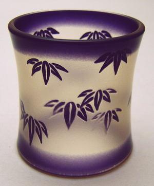 【茶道具・蓋置き】 竹の絵 ガラス蓋置 水崎長寿作