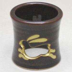 【茶器/茶道具 蓋置き】 兎透かし 膳所焼蓋置 岩崎新定作