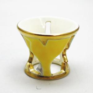 【茶道具/蓋置き】 銀杏蓋置 燦光窯 井川和夫作
