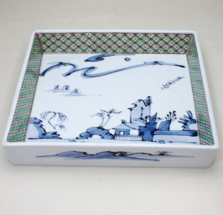 【茶器/茶道具 懐石道具(会席道具) 菓子器】 有田焼 盛鉢 八寸 山水の絵