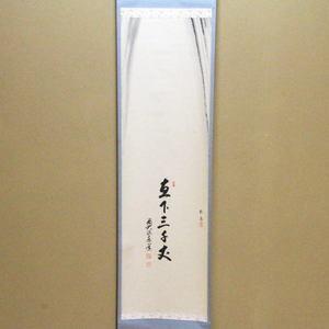 【茶器/茶道具 掛軸(掛け軸)】 一行画賛 直下三千丈 足立泰道筆 瀧の画