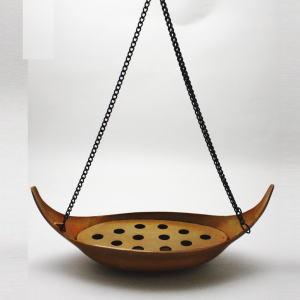 【茶器/茶道具 花入・吊花入】 釣花入れ 唐銅 釣舟花入れ 金谷浄雲作 花鎖約50cm付