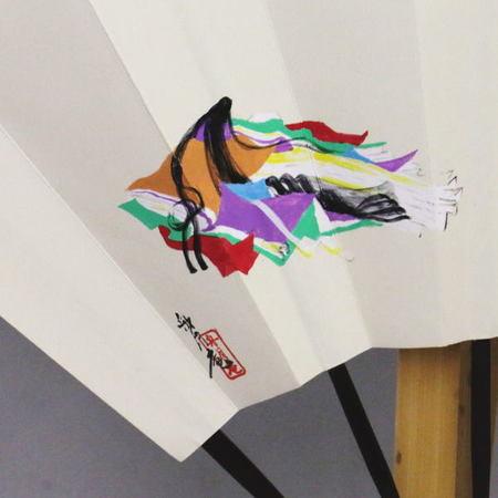 【茶道具 飾扇子(飾り扇子)】 手描き 富士山(小野小町図) 舟月庵画 扇子立付き