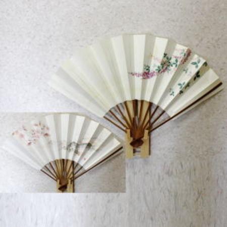 【茶器/茶道具 飾扇子(飾り扇子) 手描き】桜の絵/月に萩  両面使い 約33cm