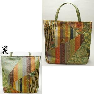 【和装バッグ トートバッグ/袋物】 フリーバッグ 荒磯(あらいそ)製 正絹 切り嵌め(きりばめ)