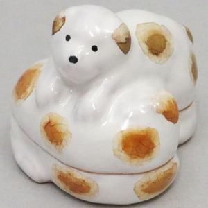 【茶器/茶道具 香合 干支「戌」】 干支香合 子犬遊(犬二匹) 加藤よしゑ作(利昇工房)