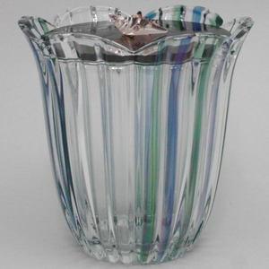 【茶器/茶道具 水指】 ガラス(硝子) 義山 潮騒 蓋:掻合木製 水崎長寿作 【smtb-KD】