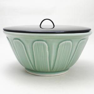 【茶道具 水指/水器】西村徳泉作 青磁平水指 (紫翠窯) 【smtb-KD】