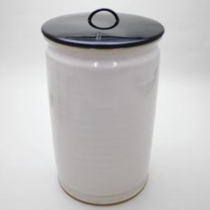 【茶道具・水指(中置)】 細水指 白釉オランダ写 加藤藤山作 泉窯