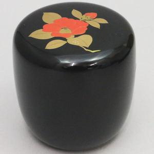 【茶器/茶道具 なつめ(お薄器)】 中棗 切合口 黒 椿 和田寿峰作 木箱