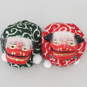 【茶道具 置物/会記押さえ】 獅子飾り 一双 緑赤 (お手玉)