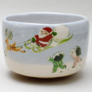 【茶器/茶道具 抹茶茶碗 クリスマス】 白楽焼茶碗 サンタクロース 大野桂山作(桂窯)