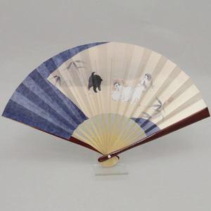 【茶器/茶道具 扇子 干支「戌」】 干支扇子 溜塗り 5寸 扇面に狗戌図