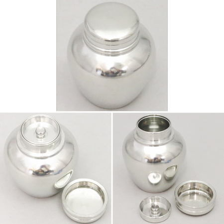 【煎茶道具 茶入・錫茶入】 茶入 錫製(すず製) 壷形