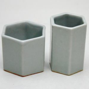 【煎茶道具】 盆巾筒/茶巾筒 青白磁 利祥作