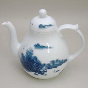 【煎茶道具 水注(水次)】 染付 山水 畑万作(畑萬作)