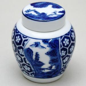 【煎茶道具】 茶入 有田焼き 地紋山水 栄山作