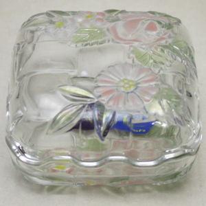 【日用品/雑貨 義山/金平糖入】 ガラス (香合) 四方小物入  ボンボン入 角7・8cm×高4.・5cm