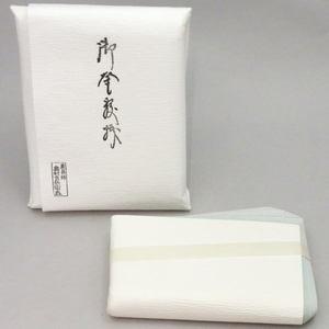 【茶器/茶道具 紙釜敷き】 檀紙 奥村吉兵衛(表具師) 浅黄色 木箱