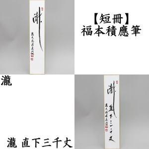 【茶器/茶道具 短冊】 直筆 瀧又は瀧直下三千丈 福本積應筆
