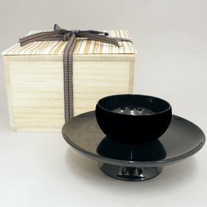 【茶器/茶道具 天目台】 利休形 呂色 黒真塗り 中村宗悦作 木製 木箱入