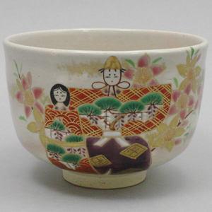 【茶器/茶道具 抹茶茶碗】 色絵茶碗 立雛 (雛茶碗:雛の絵) 松本明日香作