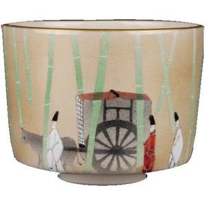 【茶器/茶道具 抹茶茶碗 勅題「語」】 色絵茶碗 源氏物語 通次阿山作