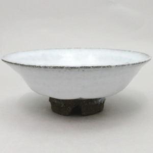 【茶器/茶道具 抹茶茶碗】 平茶碗 萩焼き 白 割高台 納富尚作