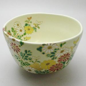 【茶道具・抹茶茶碗】 菊の絵 中村能久作