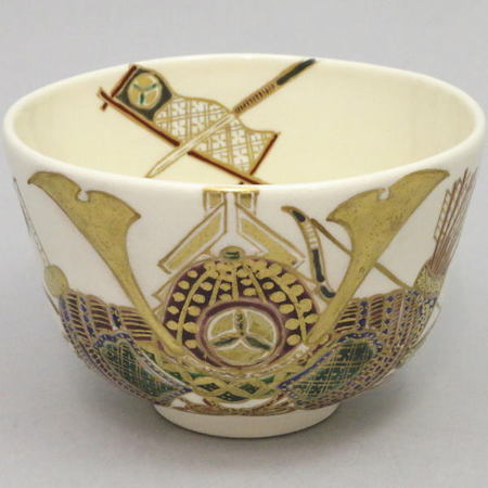 【茶器/茶道具 抹茶茶碗】 兜に菖蒲 加藤如水作