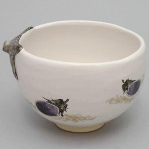 【茶道具 抹茶茶碗】 灰釉 茄子 中村良二作 「茄子」