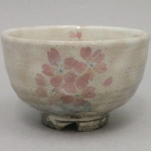 【茶器/茶道具 抹茶茶碗】 萩焼き 粉引 桜 原節夫作(天龍窯)