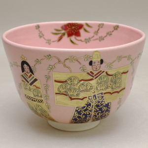 【茶器/茶道具 抹茶茶碗 ひな祭り】 淡桃地 立雛 福本未来作