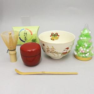 【茶器/茶道具】 クリスマス抹茶茶碗5点+金平糖付セット