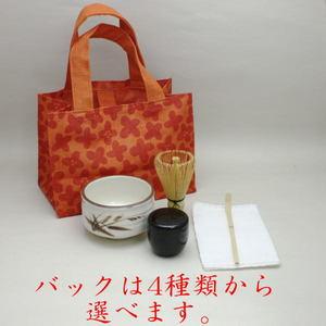 【茶器/茶道具 野点籠(野立籠)/野点セット(野立セット)】麻バック/茶碗5点セット(マイバッグ)